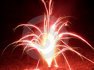 Bright Red Fireworks Stock Photography