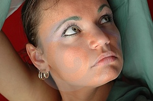 Woman In Green Free Stock Photography