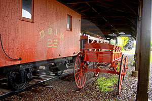 RailCar and Baggage Cart Royalty Free Stock Images