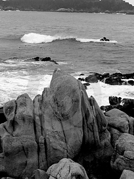 B&W Rock by the sea Stock Photos