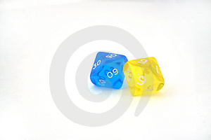 Two bright dices Royalty Free Stock Images