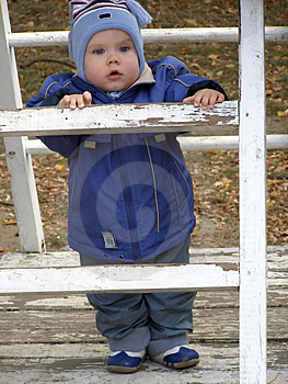Baby On A Ladder Stock Photo - Image: 1609670