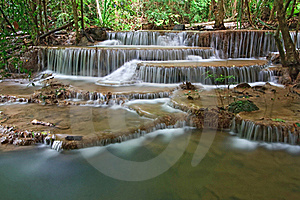 Huay Mae Khamin Waterfall Sixth Level Royalty Free Stock Photography - Image: 16003817