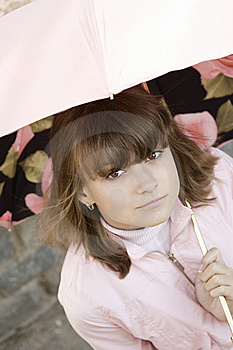 Girl In Pink Under The Umbrella Stock Images - Image: 16005734