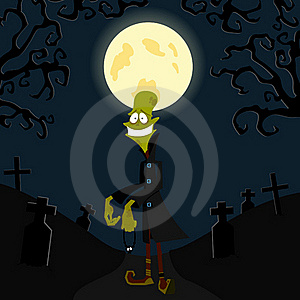 The Zombie Against The Moon Stock Image - Image: 16006391
