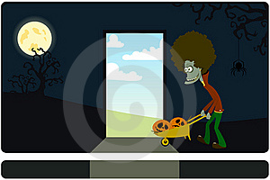 The Zombie With The Cart Against A Dark Background Stock Photos - Image: 16006793