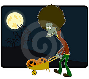 The Zombie With The Cart Of Pumpkins Royalty Free Stock Photo - Image: 16006815