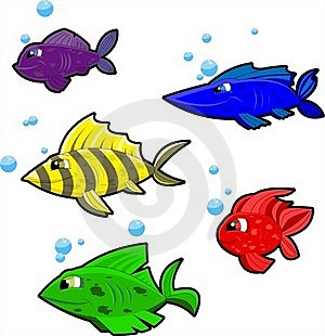 5 Colorful Cartoon Fish On White Background Royalty Free Stock Photography - Image: 16009477