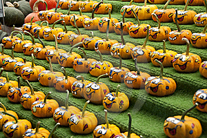 Rows Of Comical Painted Gourds Stock Photo - Image: 16009520