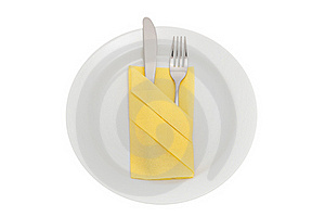Plate With Knife, Fork And Table Napkin Royalty Free Stock Photos - Image: 16014458