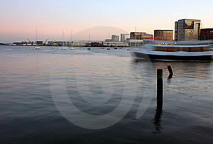 Boston's Harbor At Sunset Royalty Free Stock Images - Image: 16015129