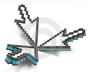 Three Isolated Pixel Cursor Stock Images - Image: 16018264