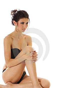 A Young And Sexy Brunette In Black Lingerie Stock Photography - Image: 16020902