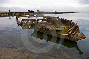 Rusty Skeleton Of A Ship Royalty Free Stock Photo - Image: 16023295