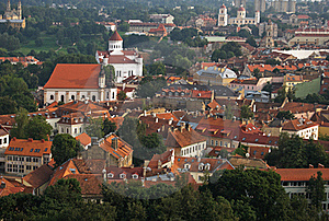 Vilnius Cityscape, Old Town Roofs Royalty Free Stock Photo - Image: 16028655