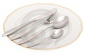 Plate With Knife, Fork And Spoon Stock Photo - Image: 16032570