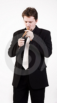 Man Smokes Cigar Stock Photos - Image: 16036093