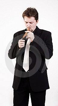 Man Smokes Cigar Stock Photos - Image: 16036093