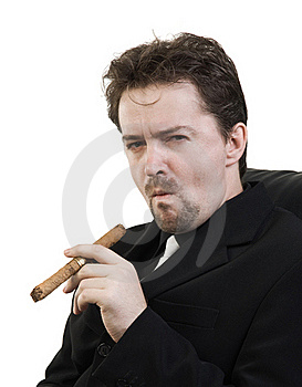 Man Smokes Cigar Royalty Free Stock Photo - Image: 16036145