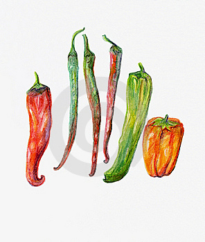 Red, Green And Orange Peppers And Chillies. Stock Images - Image: 16037084