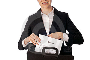 Suitcase With Contracts Royalty Free Stock Images - Image: 16037769
