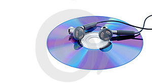 Ear-phones On Cd Isolated. Stock Image - Image: 16037941