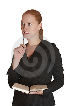 Thinking Woman With Notebook Stock Photos - Image: 16038573