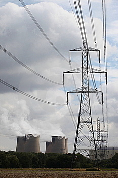 Pylons And Cooling Towers Royalty Free Stock Photography - Image: 16039457