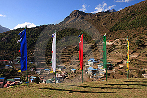 Flags In The Himalayas Royalty Free Stock Photos - Image: 16039548