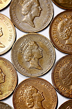 One Penny Coins From United Kingdom Royalty Free Stock Photo - Image: 16041765