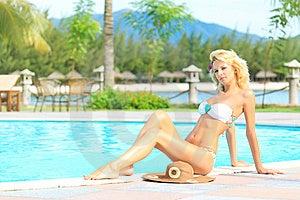 Woman Near Swimming Pool Stock Image - Image: 16042581
