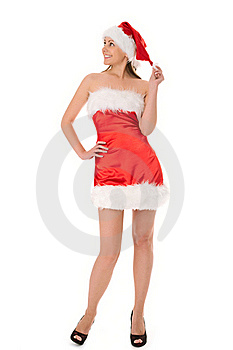 Woman In Red Santa Hat Royalty Free Stock Photos - Image: 16043868