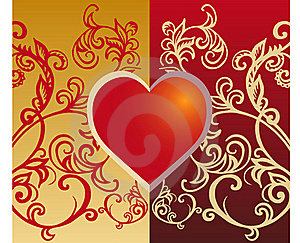 Heart And Floral Decoration Royalty Free Stock Photography - Image: 16044557