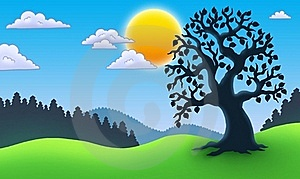 Leafy Tree Silhouette In Landscape Royalty Free Stock Images - Image: 16048959