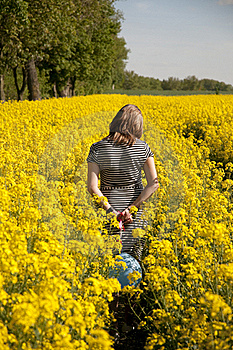 Girl On Canola Field Stock Photos - Image: 16049413