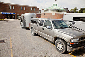 Truck And Stock Trailer At Veterinary Clinic Stock Photo - Image: 16049900