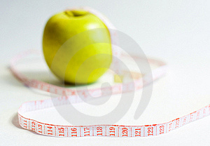 Green Apple And Measure Tape, Dieting Theme Royalty Free Stock Photo - Image: 16054145