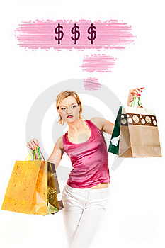 Young Pretty Shopping Woman Thinking About Money Royalty Free Stock Images - Image: 16063069