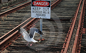 Danger On Rail Tracks, Keep Out Royalty Free Stock Images - Image: 16064369