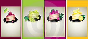 Set Of Design Samples With Delicious Cheese Cakes Royalty Free Stock Photography - Image: 16067427