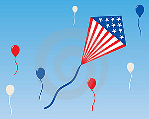 An American Patriotic Kite With Balloons Stock Photos - Image: 16069703
