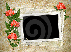 Vintage Card For The Holiday With Red Rose Royalty Free Stock Image - Image: 16070266