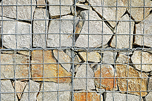 A Fragment Of Gabion Wall Stock Image - Image: 16073101
