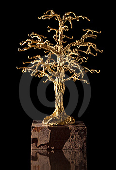 Golden tree sculpture. Stock Photography