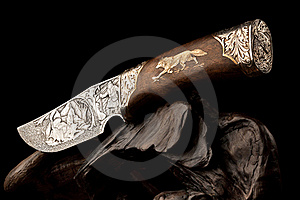 Ornamental hunting knife. Royalty Free Stock Photo