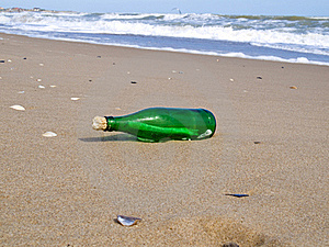 Bottle With A Note Has Beaten A Wave Stock Image - Image: 16078981