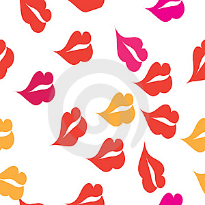 Seamless Texture With A Lot Of Red Lips Prints Stock Images - Image: 16079054