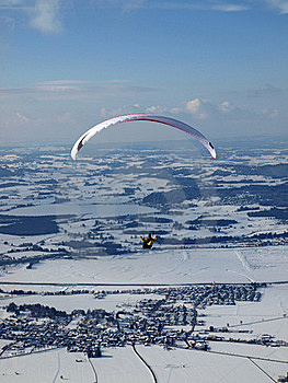 Paraglider Flying Over A Valley In Germany Stock Photo - Image: 16079390