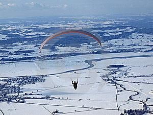 Paraglider Flying Over A Valley In Germany Royalty Free Stock Images - Image: 16079399