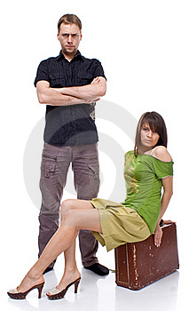 A Married Couple With A Suitcase Stock Photography - Image: 16080302